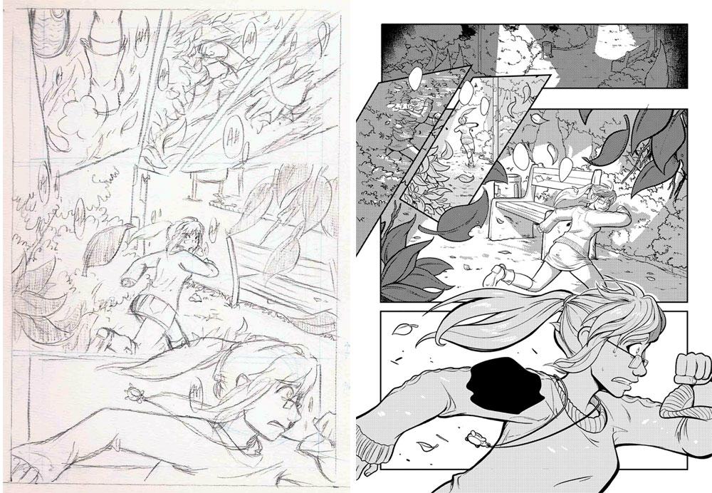 Boceto y página del cómic 1